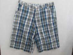 Indigo Golf Short Cotton Blend Plaids Checks  Tag 36 Measures 34X12 #403 #Indigo #BoardSurf