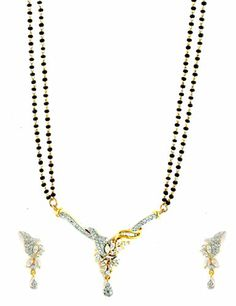 AD CZ Mangal Sutra with Chain in gold rhodium finish - MS10468CL