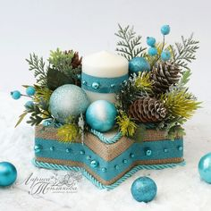 Art Deco Diy Decorations Candle Holders Ideas For 2019 Origami Christmas Ornament, Christmas Balloons, Christmas Ornaments, Frozen Christmas, Christmas Swags, Christmas Diy, Christmas Arrangements, Christmas Table Decorations, Christmas Themes
