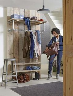 walk in wardrobe idea with scaffolding boards Walk In Wardrobe, Storage Shelves, Home Deco, Home And Living, Interior Styling, Diy Furniture, Entrance, Sweet Home, New Homes