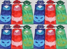Party pack 20 PJ Cape and mask, Gekko, Catboy, Owlette Costume, PJ party favor for kids