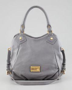L02AW MARC by Marc Jacobs Classic Q Francesca Calfskin Tote Bag, Light Gray