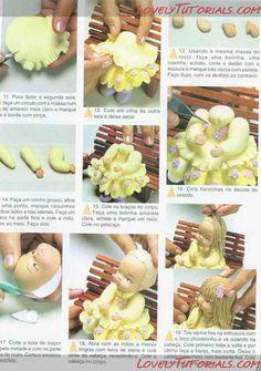 """МК лепка """"девочка с книжкой сидя"""" --Gumpaste (fondant, polymer clay) sitting girl making tutorial - Мастер-классы по украшению тортов Cake Decorating Tutorials (How To's) Tortas Paso a Paso"""