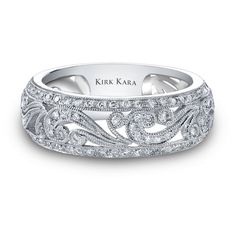 Ben Garelick Jewlers Kirk Kara 18K White Gold Angelique Handcrafted Diamond Ring with 0.45 Carats of Diamonds