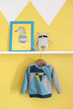 Dia Sweater PDF sewing pattern for girls and boys! Go tonal or color block away! The pattern comes with a normal sleeve and a puffed sleeve option.