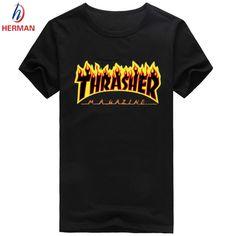 Trasher 브랜드 인쇄 티셔츠 패션 2016 스케이트 보드 브랜드 clothing 남성 스케이트 보드 압축 t 셔츠 옴므, trasher 남성 py009