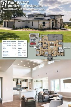 Architectural Designs 3 Bed Modern Hill Country House Plan has a large outdoor living area in back which adds to the 2,900 square feet of heated living space inside. Ready when you are. Where do YOU want to build?