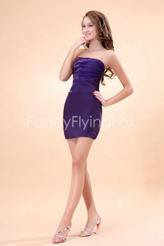 Strapless Purple Mini Graduation Party Dress at fancyflyingfox.com Pleated Fabric, Graduation Dresses, 2015 Dresses, Party Dress, Chiffon, Bodycon Dress, Sequins, Glamour, Prom