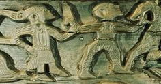 Portion of the Viking age carving which embellishes the side of a wooden cart found onboard the royal barge buried at Oseberg, in Norway, ca. 850 CE. Some believe the figure on the left to be a woman; I am skeptical of that claim