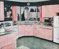 1940s Kitchen Design    This was an image from a kitchen design article in Ladies Home Journal.
