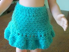 Ruffled American Girl doll skirt pattern free knit