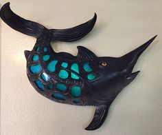 Sconce for sale.400$ plus shipping Blue Marlin, Faux Taxidermy, Ceramic Art, Turquoise Necklace, Navy Blue, Ceramics, Artist, Attitude, Gifts
