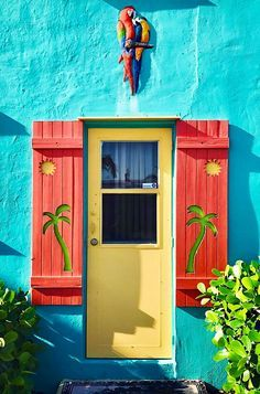 """TROPICAL COLORS, PALM TREES & SUN ON SHUTTERS and PARROTS ABOVE THE DOOR"" ♥ in LAKE WORTH, FLORIDA"
