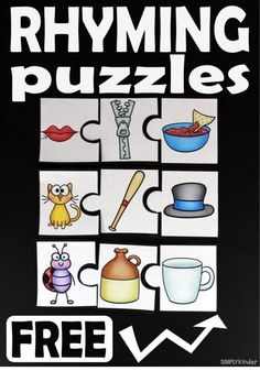 Rhyming Puzzles Rhyming Activities, Kindergarten Centers, Kindergarten Literacy, Language Activities, Literacy Centers, Literacy Stations, Activity Centers, Reading Centers, Reading Stations