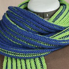 """This is a simple 2-color double brioche scarf. This pattern can be used to gain familiarity with the technique. 2-color double brioche creates an interesting pattern in the rib """"troughs"""", that I think is particularly attractive."""