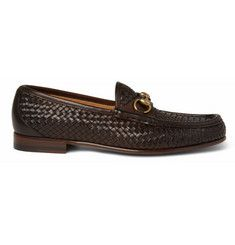 Woven Leather Horsebit Loafers from Gucci.