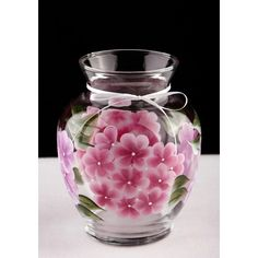 Hand Painted Vase, Pink Hydrangeas (775 UAH) ❤ liked on Polyvore featuring home, home decor and vases