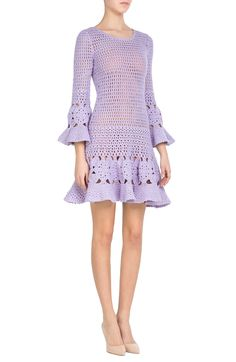"Be the fanciest gal at Coachella in this cashmere-cotton crochet dress from Michael Kors! Fitted filet mesh leads to flared sleeves and skirt. Also, shoutout to StyleBop.com for showing close-ups of the stitching as detail photos, as if to be like, ""yeah girl, you could hook this."""