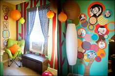 What a joyous room for a kid.  Decorating Walls with Photographs Wall Art Wednesday Feature Laura Winslow