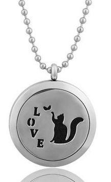 Cat Essential Oil Aromatherapy Locket Pendant