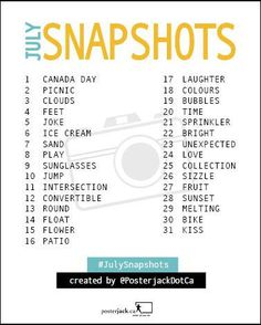 Posterjack July Snapshots: 31 Day Photo Challenge List