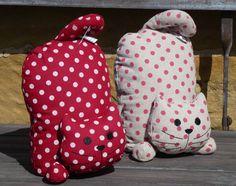 Vintage Shabby Chic Polka Dot Red & Cream Spotty Upside Down CAT Door Stop   eBay