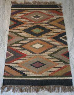 Hand woven Turkish Anatolian Multi Color Boho Kilim Wool Jute Rug Size-30x48Inch #Turkish