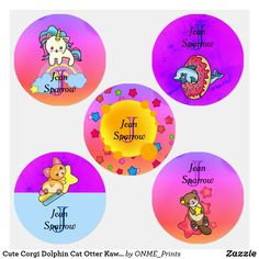 Cute Corgi Dolphin Cat Otter Kawaii Collection Kids' Labels #Onmeprints #Zazzle #Zazzlemade #Zazzlestore #Zazzlestyle #Cute #Corgi #Dolphin #Cat #Otter #Kawaii #Collection #Kids #Labels Fluffy Corgi, Waterproof Labels, Kids Labels, Unicorn Cat, Cute Corgi, Personalized Labels, Children Clothing, Kawaii Cute, Kawaii