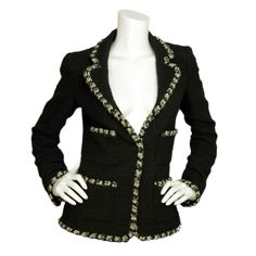 CHANEL Black Boucle Blazer W. White & Grey Trim Sz. 38 c. 2006 | From a collection of rare vintage jackets at http://www.1stdibs.com/fashion/clothing/jackets/