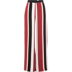 Zeus + Dione Wide Leg Striped Silk Pants ($560) ❤ liked on Polyvore featuring pants, trousers, stripes, wide-leg trousers, rear zipper pants, back zipper pants, stripe pants and striped pants