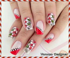 Arrasou!!! Fabulous Nails, Perfect Nails, Gorgeous Nails, Fingernail Designs, Cute Nail Designs, Cute Nails, Pretty Nails, Flower Nail Art, Beautiful Nail Art