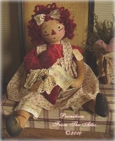 Photo: This Photo was uploaded by Find other pictures and photos or upload your own with Photobucket free i. Raggedy Ann And Andy, Bear Doll, Primitive Crafts, Doll Clothes, Sewing Projects, Ann Doll, Teddy Bear, Valentines, Rag Dolls