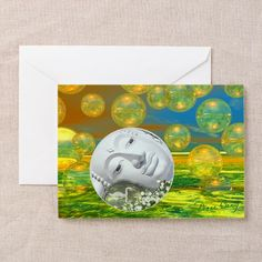 Peace – Golden and Emerald Serenity Greeting Card #sold - off to California!!