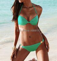 Beach Sexy Green , Black, Pink Push-Up Halter Top Low Rise Bottom Swimwear Sales