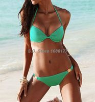 Beach Sexy Green , Black, Pink Push-Up Halter Top Low Rise Bottom Swimwear Sales