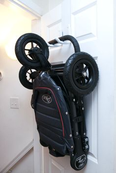 The StrollAway Stroller Hanger- perfect solution for storing your #stroller!