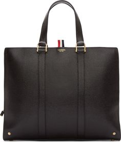 Thom Browne Black Pebbled Leather Briefcase