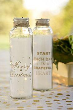 """Weihnachts-Deko Glas-Flaschen mit LED Beleuchtung """"Merry Christmas"""" - Größe pro Flasche Höhe 20cm - 2er Set - Weihnachten, Weihnachts-Deko, Weihnachts-Geschenk Advent Dekoration"""
