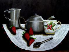 strawberries and tea by Yolande Havenga South African Artists, Bowl Set, Strawberries, Tea Pots, Tableware, Dinnerware, Dishes, Strawberry Fruit, Teapot