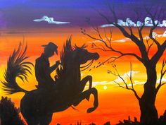 Sunset Cowboy painting Silhouette acrylic by The art Sherpa https://www.youtube.com/watch?v=IFSCcRznBqU