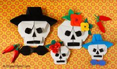 How to Make An Origami Skull for Halloween or The Day of the Dead #dayofthedead #origamiskull #origamihat