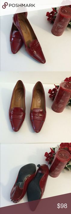 4 TH OF JULY SALE.  Tod's shoes  Beautiful red Tod's shoes. Worn once , has tiny scratch in the left front shoes, shows in photo.no box. Tod's Shoes Heels