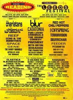 READING /& LEEDS FESTIVAL Line Up Posters PHOTO Print POSTER Prints 1988-Present