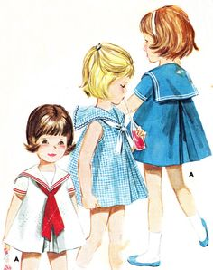 Vintage 1960s Butterick 2959 girls A-line sailor dress with center front and center back pleats. Self dickey at neckline. View A short sleeved dress