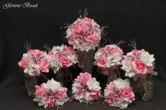 Pink BEADED Flower Lily Rose Quinceanera Bouquet 16 PIECE Set  FREE BOUTONNIERES