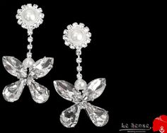 wedding butterfly earringearring with crystals and by Lesense, $20.00
