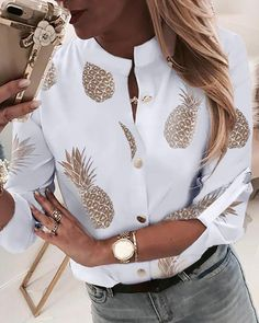 2019 Fashion Woman Pineapple Printed Blouse White Casual Long Sleeve Shirt Fall New Female Blusas Tops With Button Plus Size Trend Fashion, Look Fashion, Fashion Ideas, Unique Fashion, Fashion Outfits, Classic Fashion, Fashion Hair, Vogue Fashion, Aesthetic Fashion