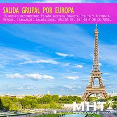 Recorre Europa con esta salida grupal visitando España Austria Francia Italia y Alemania. Excursiones incluidas!