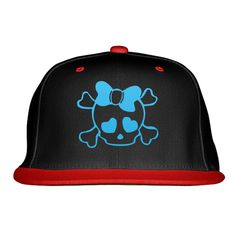 SKULL WITH BOW Embroidered Snapback Hat