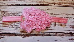 Pink headband, Baby headband, girls headband, Fruit headband, toddler, girls hair bows,Shabby chic flower, Chiffon flower, flower headband